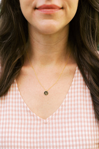 Gold Filled Adjustable Necklace + Initial Charm (Round Disk)