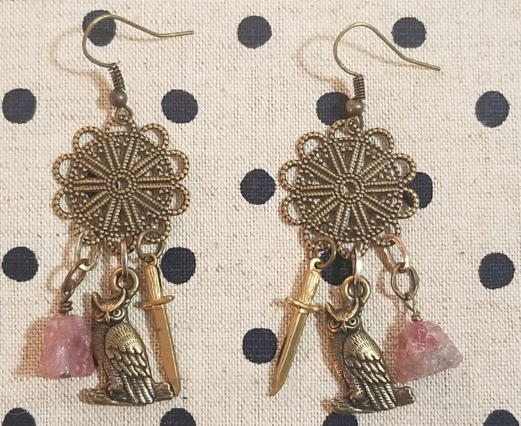 Brass owl charm earrings (IG)