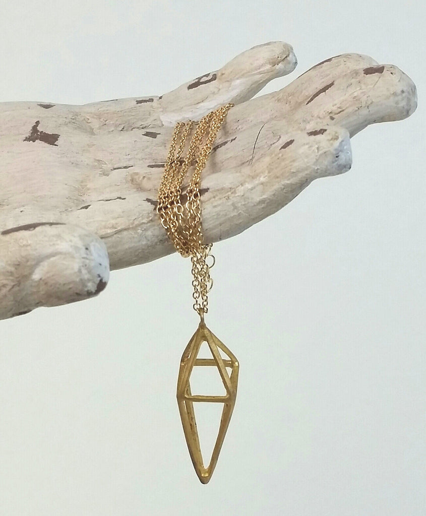 NHED01-G Octahedron Necklace