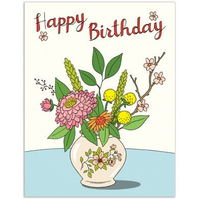 Pretty Flowers in Vase Birthday Card
