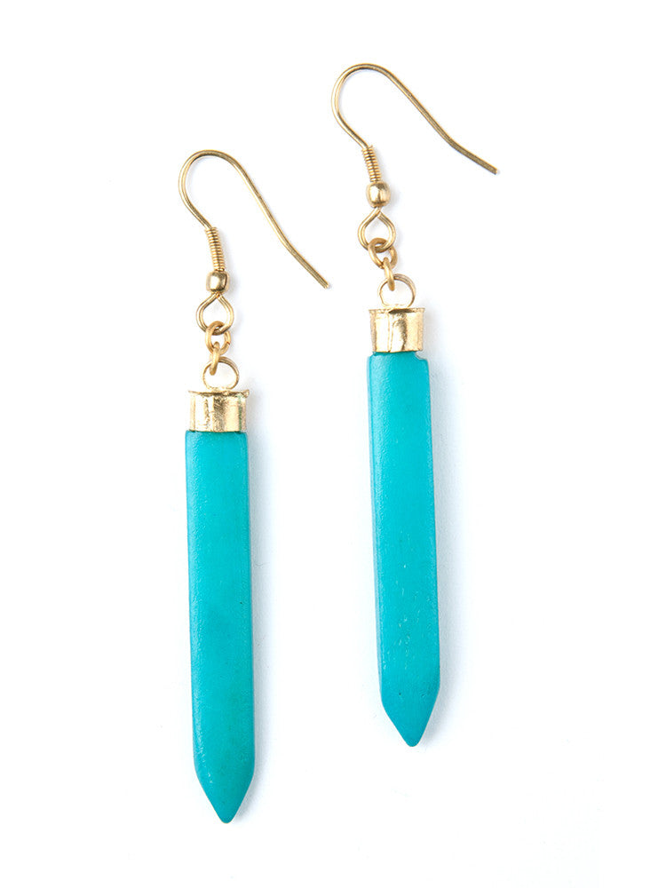 Layered Spike Earring Turquoise