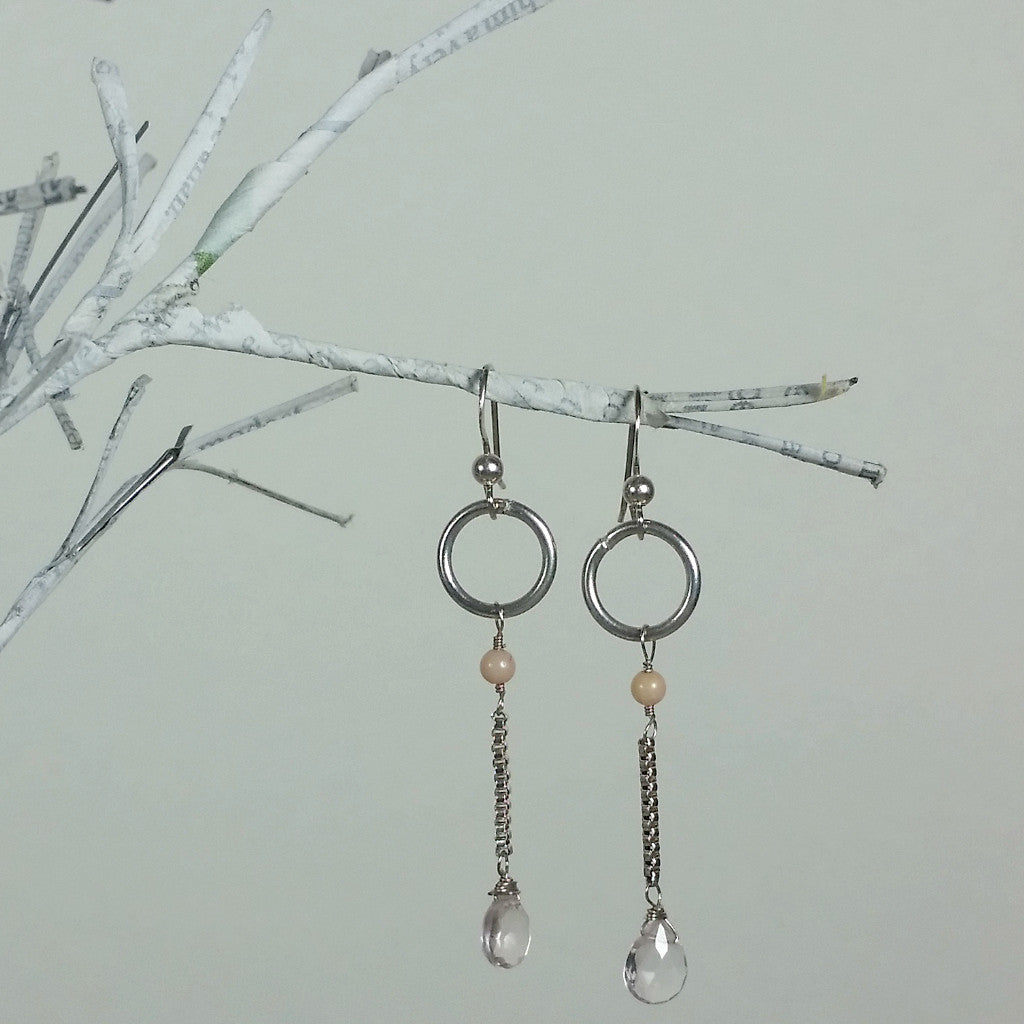 Sterling Mini Hoop/Rose Quartz Earring