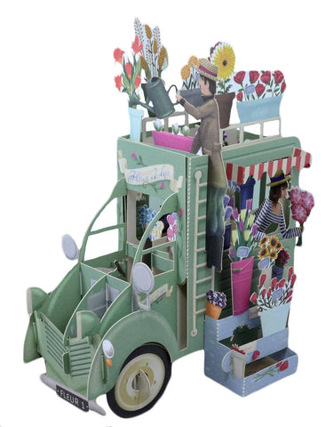 3D Pop Up Birthday Card - Flower Sellers Truck