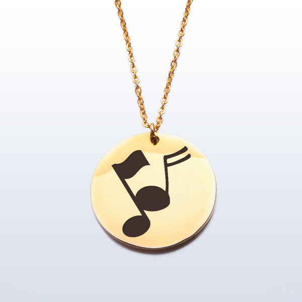 Stainless Pendant Necklace - Music Notes
