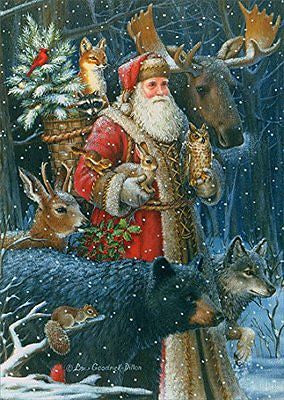 Box of 16 Christmas Cards - Father Christmas Woodland Santa - INPCreative - 1