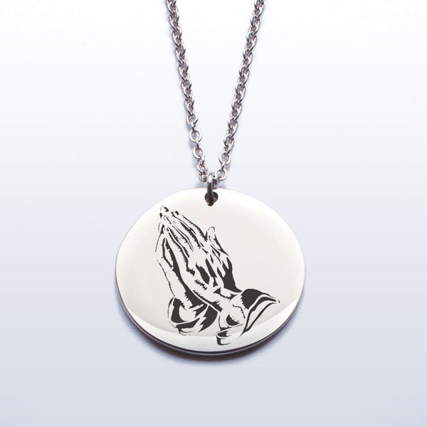 Stainless Pendant Necklace - Praying Hands