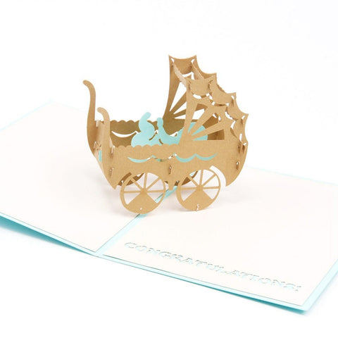 3D Pop Up Greeting Card - Baby Carriage - Blue