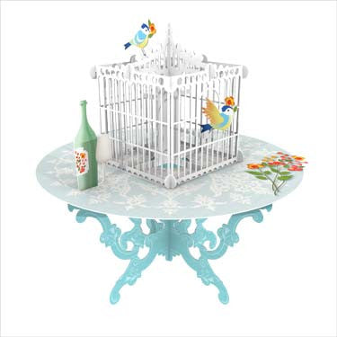 3D Pop Up Greeting Card - Bird Cage