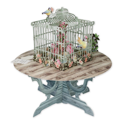3D Pop Up Card - Roses & Birds Cage Table - INPCreative - 1