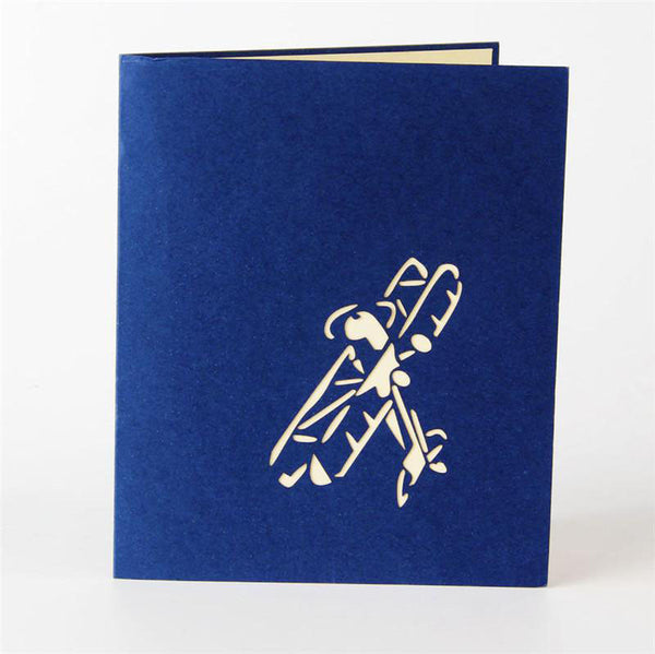 3D Pop Up Greeting Card - Airplane - Blue