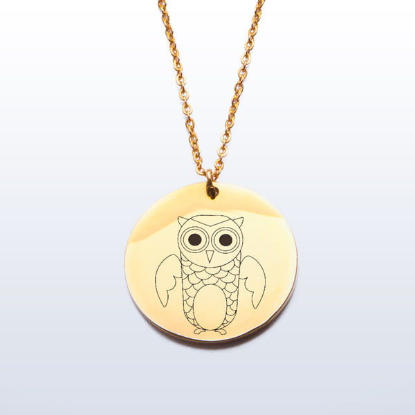 Stainless Pendant Necklace - Owl