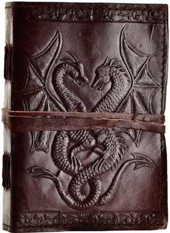 "Double Dragon Leather Journal 5"" x 7"" Unlined Blank Book - INPCreative - 1"