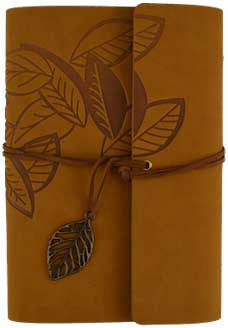 "Brown Leaf Leather Journal 5"" x 7"" Refillable Unlined Blank Book - INPCreative - 1"