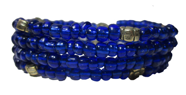 Cobalt Blue Multi-loop, Silver Lined Glass Bead Memory Wire Wrapped Bracelet
