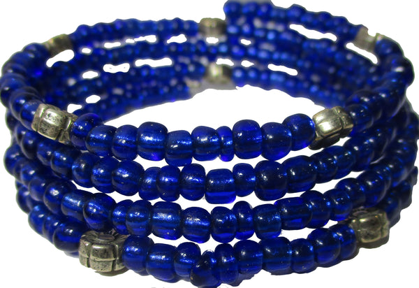 Cobalt Blue Multi-loop, Silver Lined Glass Beads Memory Wire Wrapped Bracelet