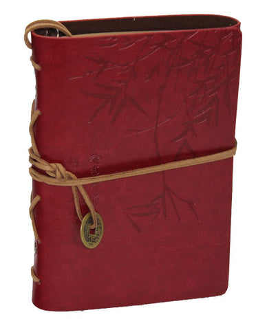 "Red Ching Bamboo Leather Journal 5"" x 7"" Refillable Unlined Blank Book - INPCreative - 1"