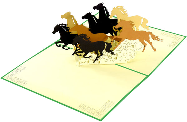 running horses 3d pop up greeting card