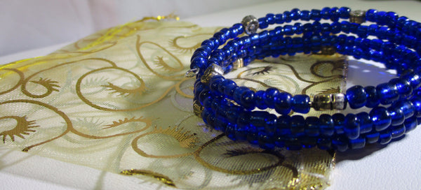 Cobalt Blue Multi-loop, Silver Lined Glass Beads Memory Wire Wrapped Bracelet with gift bag