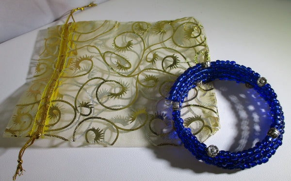 Cobalt Blue Multi-loop, Silver Lined Glass Beads Memory Wire Wrapped Bracelet with ganza bag