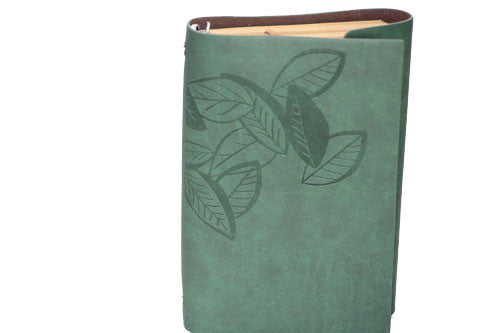 "Green Leaf Leather Journal 5"" x 7"" Refillable Unlined Blank Book - INPCreative - 4"