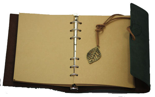 "Green Leaf Leather Journal 5"" x 7"" Refillable Unlined Blank Book - INPCreative - 2"