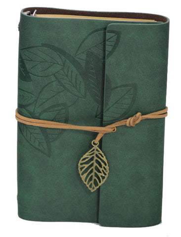 "Green Leaf Leather Journal 5"" x 7"" Refillable Unlined Blank Book - INPCreative - 1"