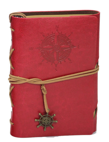 "Red Compass Leather Journal - 5"" x 7"" Refillable Unlined Blank Book - INPCreative - 1"