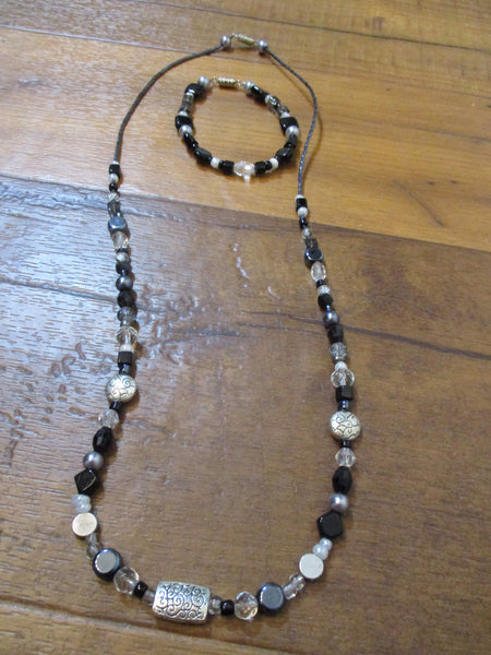 "Black Silver Beaded 24.5"" Necklace & 7"" Bracelet Set"