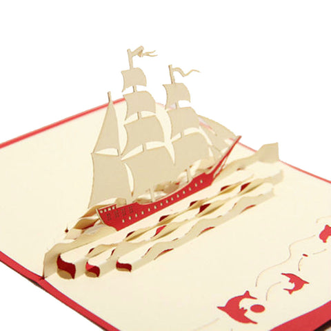 3D Pop Up Greeting Card - Sailing Boat - INPCreative - 1