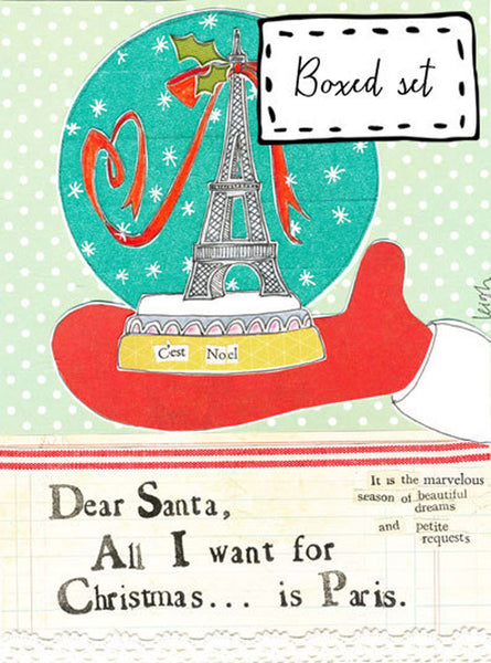 Box of 8 Christmas Cards & Envelopes - Curly Girl Design - Christmas In Paris - INPCreative - 2
