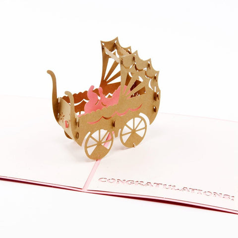 3D Pop Up Greeting Card - Baby Carriage - Pink