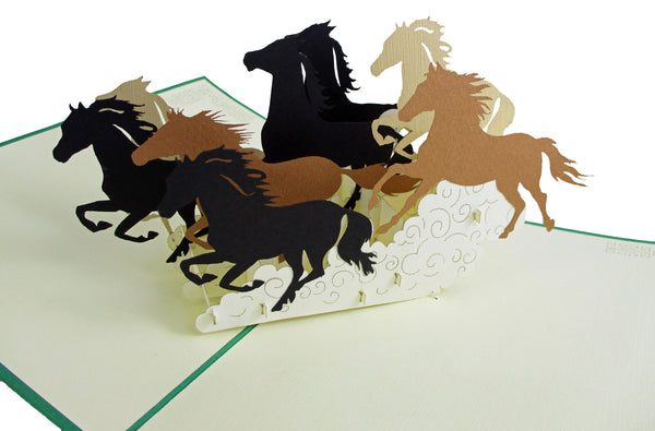 3D Pop Up Card - Horses - INPCreative - 1