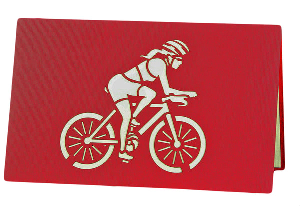 3D Pop Up Greeting Card - Racing Woman on Bicycle