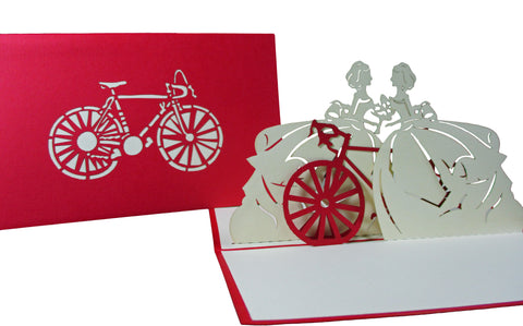 3D Pop Up Greeting Card - Victorian Couple Women