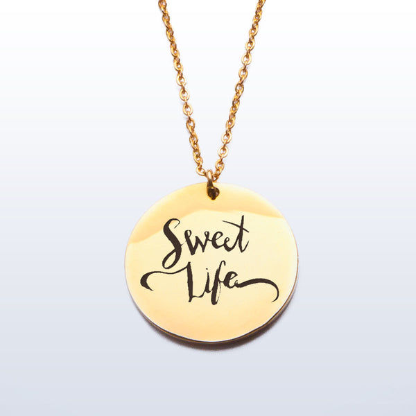 Stainless Pendant Necklace - Sweet Life