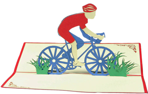 3D Pop Up Greeting Card - Racing Man on Bicycle