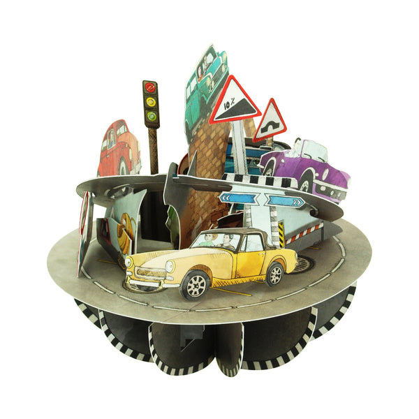 Santoro Pirouettes 3D Pop Up Greeting Card - Retro Cars