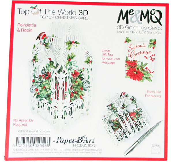 3D Pop Up Christmas Card - Poinsettia & Robin Cage - INPCreative - 2