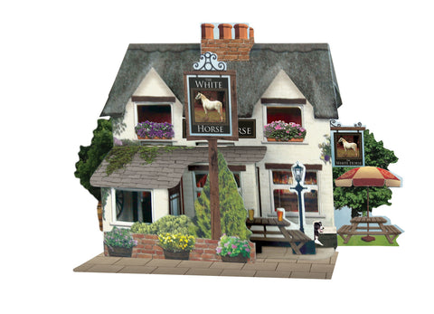 Santoro Pop Up Places 3D Greeting Card - White Horse Pub - INPCreative - 1