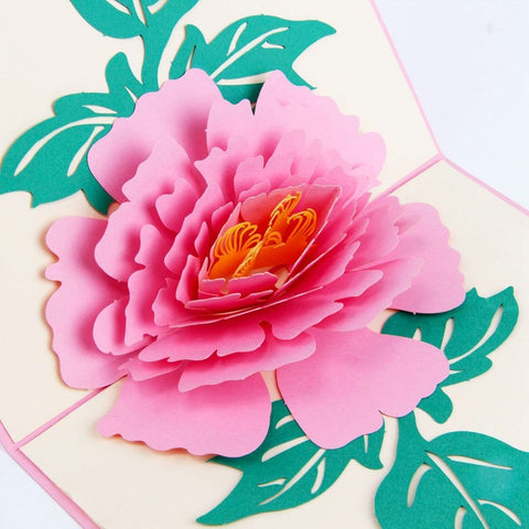3D Pop Up Greeting Card - Peony (Pink)