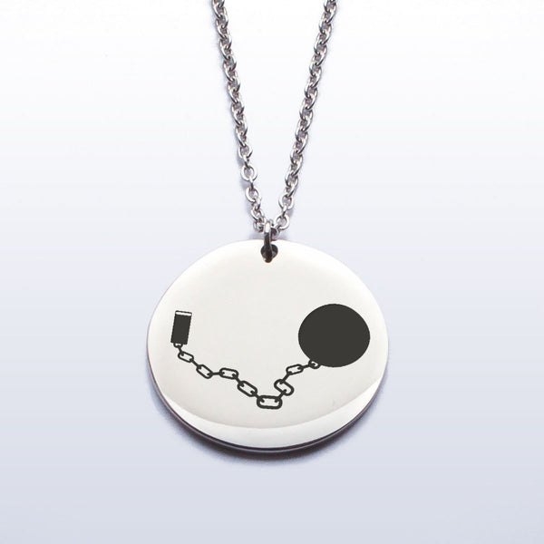 Stainless Pendant Necklace - Ball & Chain