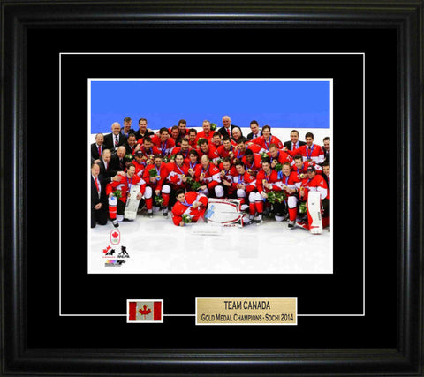 Team Canada - Framed 8x10 2014 Olympics Pin & Plate Mens Celebration