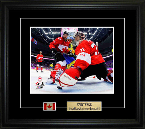 Carey Price - Framed 8x10 2014 Olympics Pin & Plate Team Canada Netcam