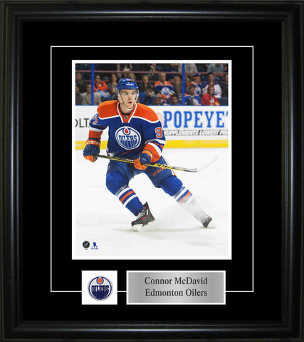 Connor McDavid - Framed 8x10 Pin & Plate - Edmonton Oilers Blue Action