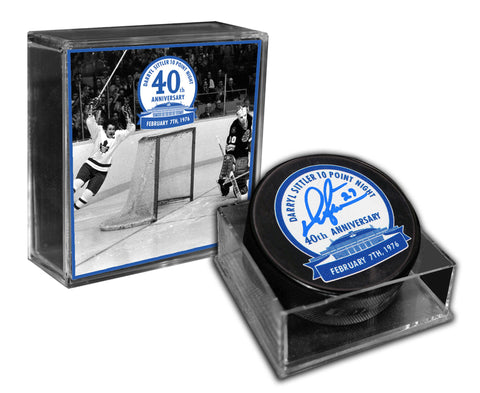 Darryl Sittler - Signed Puck 10-Point Night 40th Anniversary Logo - Limited Edition/127