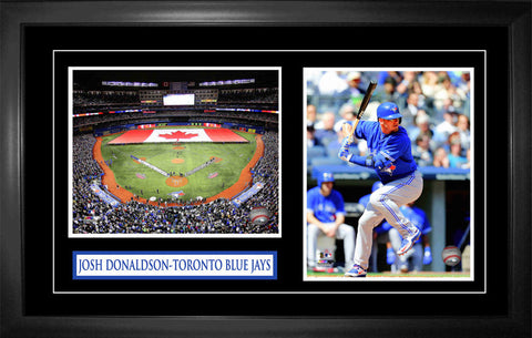 Josh Donaldson - Framed Double 8x10 Etched Mat - Toronto Blue Jays Action Featuring Rogers Centre