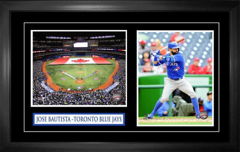 Jose Bautista - Framed Double 8x10 Etched Mat Action & Rogers Centre - Toronto Blue Jays