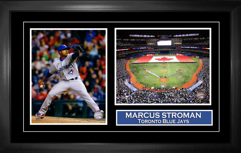 Marcus Stroman - Framed Double 8x10 Etched Mat - Toronto Blue Jays Featuring Rogers Centre