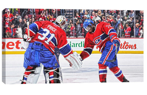 Carey Price & PK Subban - 14x28 Canvas Montreal Canadiens Low Five