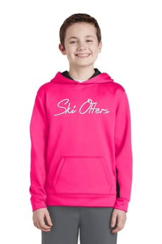 Ski Otters Youth Girls or Boys Neon Pink Colorblock Hoodie
